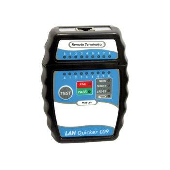 Тестер за кабели ROLINE 13.99.3001, за RJ-45 UTP/STP, OPEN, SHORT и CROSS тест функции image