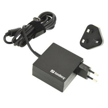 Захранване (заместител) Sandberg 135-72, 20.3V/3A/65W, универсален за устройства с USB Type C, EU+UK image