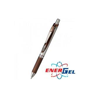 Автоматичен ролер Pentel Energel BL77, кафяв цвят на писане, дебелина на линията 0.7 mm, гел, сребрист, цената е за 1бр. (продава се в опаковка от 12бр.) image