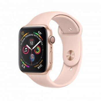 Смарт часовник Apple Watch Series 4, 40mm, (Gold), Bluetooth 5.0, Wi-Fi, 16GB, водоустойчив до 50 метра, до 18 часа работа, iOS, с розова Pink Sand Sport Band каишка image