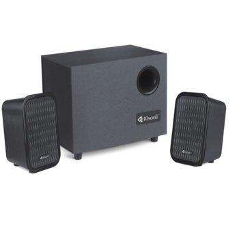 Тонколони Kisonli ТМ-3000, 2.1, 10W RMS (5W + 2x 2.5W), USB, черни, може да чете MP3 от флашка image