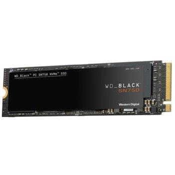 Памет SSD 250GB WD Black SN750, NVMe, M.2 (2280), скорост на четене 3100MB/s, скорост на запис 1600MB/s image