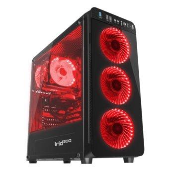 Кутия IRID 300 Genesis, ATX, micro-ATX, mini-ITX, 1x USB 3.0, прозорец от закалено стъкло, червена, без захранване image