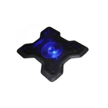 Охлаждаща подложка за лаптоп 878, 1 вентилатор, LED подсветка, черна, bulk image