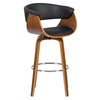 Бар стол Carmen 4040, до 100кг, еко кожа, дървена база, черен image