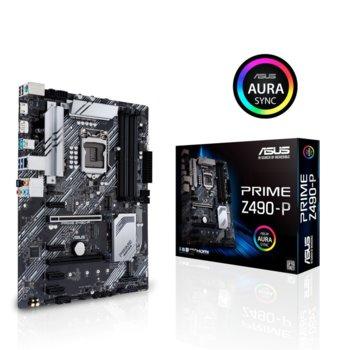 Дънна платка Asus PRIME Z490-P, Z490, LGA1200, DDR4, PCI-E 3.0 (DisplayPort&HDMI)(CFX), 4x SATA 6Gb/s, 1x M.2 Socket, 1x USB 3.2 Gen2 Type-C, ATX image