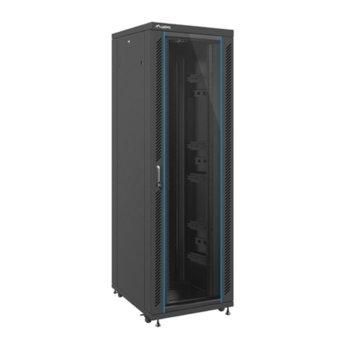 """Комуникационен шкаф Lanberg FF02-8042M-12B, 19"""", 42U, 800 x 1000 x 2129.2, стъклена врата, черен image"""