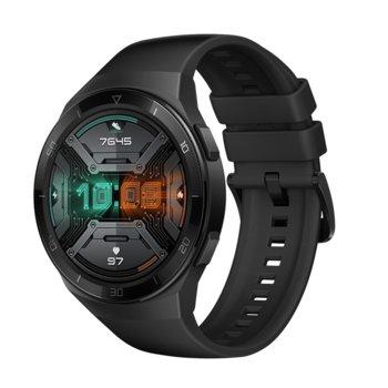 "Смарт часовник Huawei GT2e Hector-B19S, 42mm, 1.39"" (3.53 cm), Bluetooth, 4GB RAM, 16GB ROM, водоустойчив, iOS/Android, черен с черна каишка image"