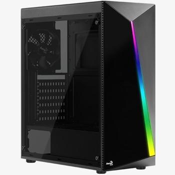Кутия Aerocool Shard Tempered Glass, ATX/mATX/Mini-ITX, 1x USB 3.0, прозорец, подсветка, черна, без захранване image