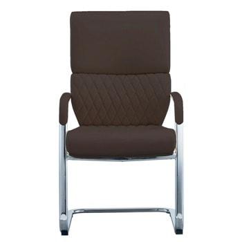 Посетителски стол RFG Grande M, до 120кг. макс тегло, еко кожа, кафяв image