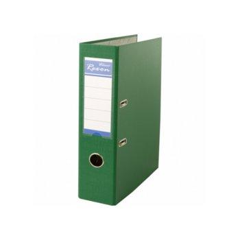 Класьор Rexon, за документи с формат до A4, дебелина 8см, с метален кант, зелен image