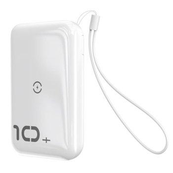 Външна батерия /power bank/ Baseus Mini S Bracket, 10 000 mAh, бяла, USB Type-C, USB Type-A, USB micro B, Power Delivery 3.0, поддържа Qi безжично зареждане image