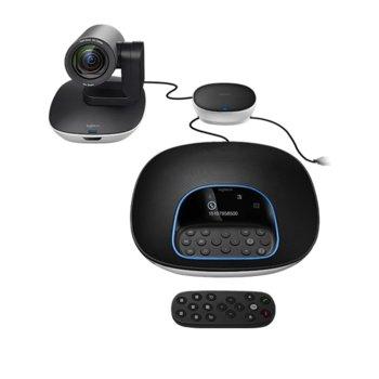 Конферентна станция Logitech Conference Group, камера/дистанционно/колони/хъб, Full HD, LCD дисплей, 30 FPS, USB 2.0 image
