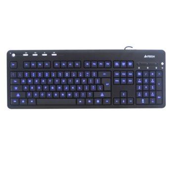 Клавиатура A4tech KD-126-1, синя LED подсветка, черна, USB image