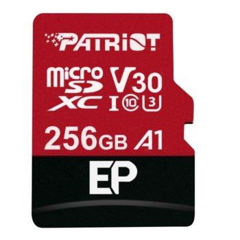 Карта памет 256GB microSDXC с адаптер, Patriot EP Series (PEF256GEP31MCX), Class 10 U3, скорост на четене 90MB/s, скорост на запис 80MB/s image