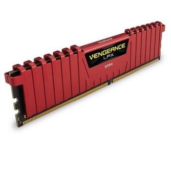 Памет 8GB DDR4 2666MHz, Corsair Vengeance LPX Red, CMK8GX4M1A2666C16R, 1.2V image