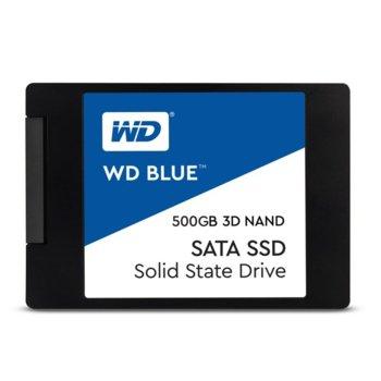 """Памет SSD 500GB Western Digital Blue, SATA 6Gb/s, 2.5""""(6.35 cm), скорост на четене 560MB/s, скорост на запис 530MB/s image"""