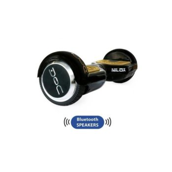 Ховърборд Nilox DOC Plus Gold, до 10км/ч скорост, 20км макс. пробег, до 100кг, 2x 240W двигатели, Bluetooth 2.1 говорители, златист-черен image