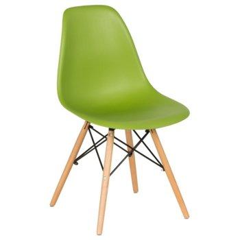 Трапезен стол Carmen 9957, крака от бук и метални подсилващи елементи, зелен image
