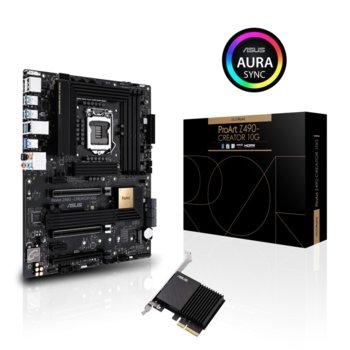 Дънна платка Asus ProArt Z490-CREATOR 10G, Z490, LGA1200, DDR4, PCI-E 3.0 (DisplayPort&HDMI)(CFX), 6x SATA 6Gb/s, 2x M.2 Socket, 1x USB 3.2 Gen2 Type-C, ATX  image
