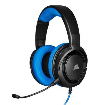 Слушалки Corsair HS35 Blue, микрофон, геймърски, 3.5 mm jack, черни/син image