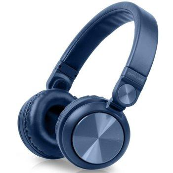 Слушалки Muse M-276 MSE00130, безжични, микрофон, Bluetooth, 3.5mm кабел, сини image
