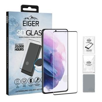 Протектор от закалено стъкло /Tempered Glass/ Eiger 3D (EGSP00699), за Samsung Galaxy S21 Ultra, извит, черен-прозрачен image