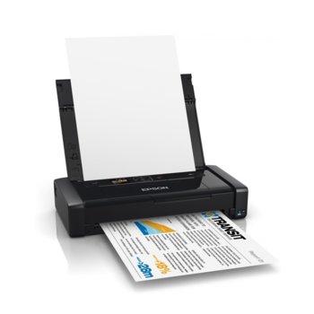 Мобилен принтер Epson WorkForce WF-100W, цветен, 5760 x 1440 DPI., А4, Wi-Fi & Wi-Fi Direct, батерия, черен image