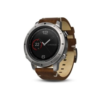 "Смарт часовник Garmin fēnix Chronos, 1.2"" (3.4 cm) сензорен дисплей, 64MB вградена памет, GPS, Bluetooth, до 13 часа време за работа, компас, водоустойчив, кожена каишка, кафяв image"