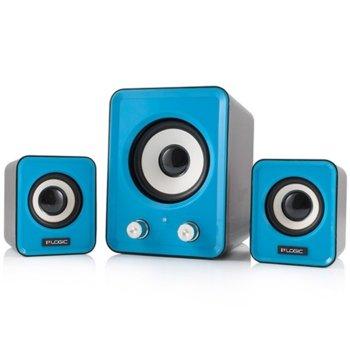 Тонколони Logic LS-20 Blue, 2.1, 11W RMS(5W+ 3W x2), USB, сини image
