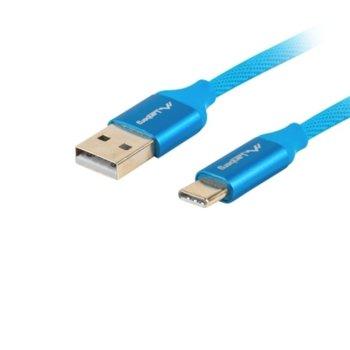 Кабел Lanberg CA-USBO-22CU-0010-BL, от USB Type A(м) към USB Type C(м), 1m, Quick Charge 3.0, син image
