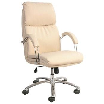 Директорски стол Nadir Steel, до 120кг, еко кожа, хромирана база, коригиране височина, люлеещ механизъм, заключване в позиция, бежов image