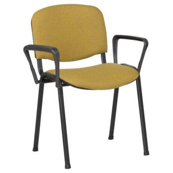 Посетителски стол Carmen 1150 LUX, метани крака, полипропиленови облегални за ръце, дамаска, жълт image