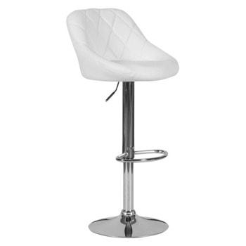 Бар стол Carmen 4020, до 100кг, еко кожа, хромирана база, газов амортисьор, коригиране на височината, бял image