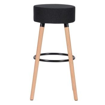 Бар стол Carmen 4025, до 100кг, дамаска, дървена база, черен image