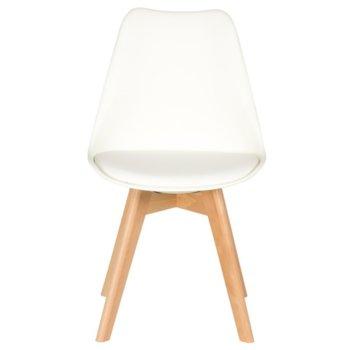 Трапезен стол Carmen 9958 B, полипропилен, еко кожа, дървена база, бял image