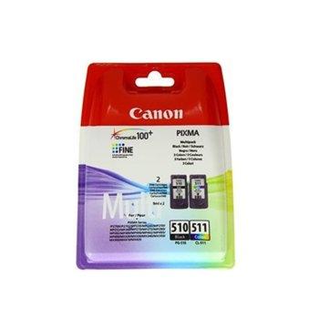 Мастило за Canon PIXMA iP2700; PIXMA iP2702; PIXMA MP230; PIXMA MP240; PIXMA MP250; PIXMA MP252; PIXMA MP260; PIXMA MP270; PIXMA MP272; PIXMA MP280; PIXMA MP282; PIXMA MP480; PIXMA MP490; - Black/Cyan/Magenta/Yellow - PG-510 / CL-511 image