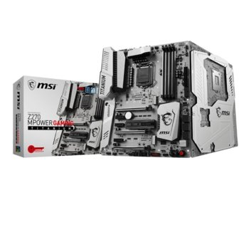 Дънна платка MSI Z270 MPower Gaming Titanium, Z270, LGA1151, DDR4, PCI-E(DP&HDMI)(CF&SLi), 3x M.2, 2 x U.2, 2 x USB 3.1 Gen1 Type-A, ATX image