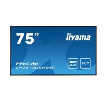 "Дисплей Iiyama LH7510USHB-B1, 75"" (190.5 cm), Ultra HD, HDMI, DVI-D, DisplayPort, USB image"
