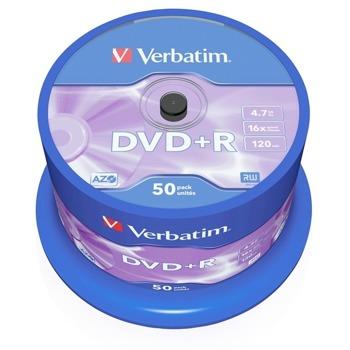 Оптичен носител DVD+R 4.7GB, Verbatim, 16x, 50бр image
