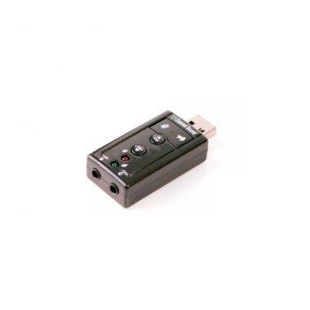 Външна звукова карта CMP-SOUNDUSB, 7.1, USB, 2x 3.5мм жакове, бързи бутони, черна image