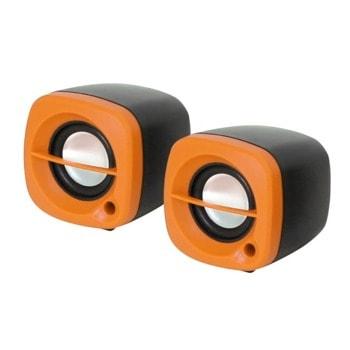 Мини Аудио Система Kisonli 15O, 2.0, 2x3W, 3.5mm стерео, черно - оранжев image