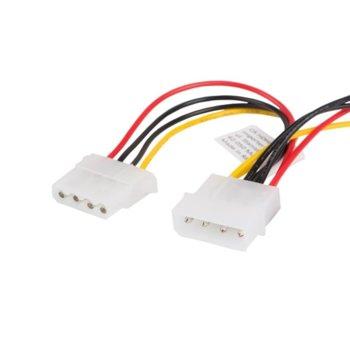Захранващ кабел Lanberg CA-HDHD-10CU-0015, от Molex(м) към 2x Molex(м/ж), 0.15m image