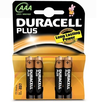 Батерии алкални Duracell Plus AAA (LR03), 1.5V, 4бр. image