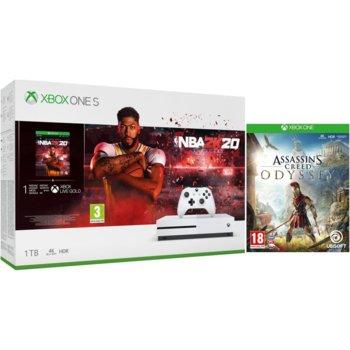 Конзола Microsoft Xbox One S 1TB HDD NBA 2K20 Bundle + Assassin's Creed: Odyssey, бяла image