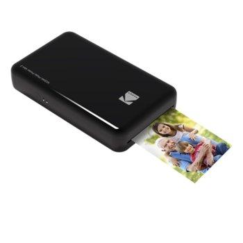 Мобилен принтер KODAK Mini 2 Instant Photo Printer(черен), цветен термосублимационен фотопринтер, Bluetooth/NFC, microUSB, 86x53mm печат image