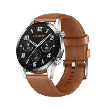 Смарт часовник Huawei Watch GT 2, Latona, 46mm, 454 x 454 pix AMOLED дисплей, 4GB памет, Bluetooth, Huawei wearable platform, водоустойчив, сив с кафява кожена каишка image