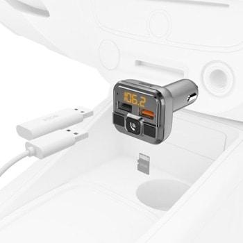 FM трансмитер Hama 14165, от 87.5 MHz до 107.9 MHz, Bluetooth, 2x USB, сив image