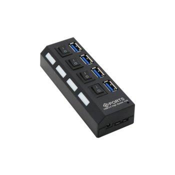 USB Хъб 12062, 4x USB 3.0, черен, бутони on/off image