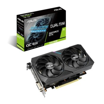 Видео карта Nvidia GeForce GTX 1660 Super, 6GB, Asus Dual Mini OC Edition, PCI-E 3.0, GDDR6, 192-bit, DisplayPort, HDMI, DVI image